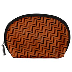 Brown Zig Zag Background Accessory Pouches (large)  by BangZart