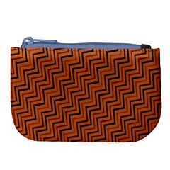 Brown Zig Zag Background Large Coin Purse by BangZart