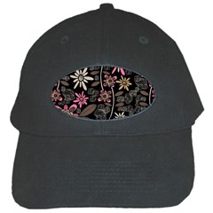 Flower Art Pattern Black Cap by BangZart