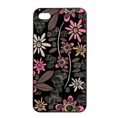 Flower Art Pattern Apple Iphone 4/4s Seamless Case (black) by BangZart