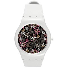 Flower Art Pattern Round Plastic Sport Watch (m) by BangZart