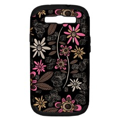 Flower Art Pattern Samsung Galaxy S Iii Hardshell Case (pc+silicone) by BangZart