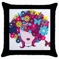 Beautiful Gothic Woman With Flowers And Butterflies Hair Clipart Throw Pillow Case (black) by BangZart