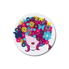 Beautiful Gothic Woman With Flowers And Butterflies Hair Clipart Rubber Coaster (round)  by BangZart