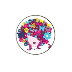 Beautiful Gothic Woman With Flowers And Butterflies Hair Clipart Hat Clip Ball Marker (4 Pack)