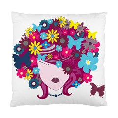 Beautiful Gothic Woman With Flowers And Butterflies Hair Clipart Standard Cushion Case (one Side) by BangZart