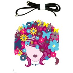 Beautiful Gothic Woman With Flowers And Butterflies Hair Clipart Shoulder Sling Bags by BangZart
