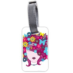 Beautiful Gothic Woman With Flowers And Butterflies Hair Clipart Luggage Tags (one Side)  by BangZart