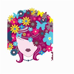 Beautiful Gothic Woman With Flowers And Butterflies Hair Clipart Large Garden Flag (two Sides) by BangZart