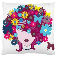 Beautiful Gothic Woman With Flowers And Butterflies Hair Clipart Large Cushion Case (two Sides) by BangZart