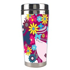 Beautiful Gothic Woman With Flowers And Butterflies Hair Clipart Stainless Steel Travel Tumblers