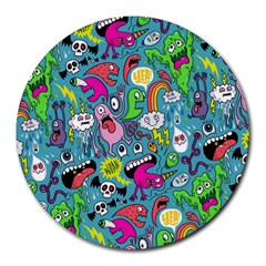 Monster Party Pattern Round Mousepads by BangZart