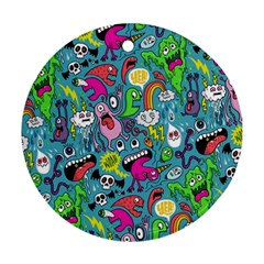 Monster Party Pattern Ornament (round) by BangZart
