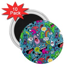 Monster Party Pattern 2 25  Magnets (10 Pack)  by BangZart