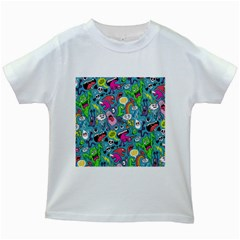 Monster Party Pattern Kids White T Shirts by BangZart