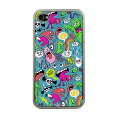 Monster Party Pattern Apple Iphone 4 Case (clear) by BangZart