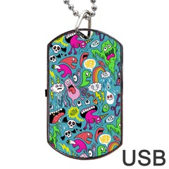 Monster Party Pattern Dog Tag Usb Flash (two Sides) by BangZart