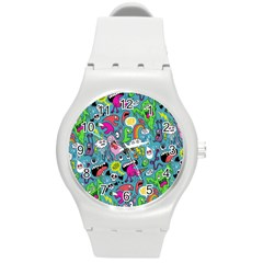 Monster Party Pattern Round Plastic Sport Watch (m) by BangZart