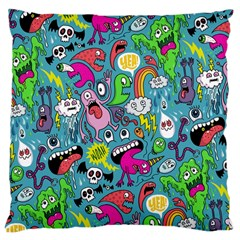 Monster Party Pattern Large Cushion Case (two Sides) by BangZart