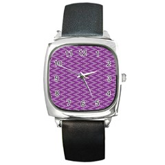 Zig Zag Background Purple Square Metal Watch
