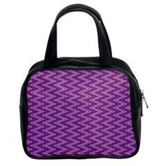 Zig Zag Background Purple Classic Handbags (2 Sides) by BangZart
