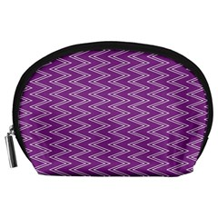 Zig Zag Background Purple Accessory Pouches (large)  by BangZart