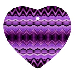 Purple Pink Zig Zag Pattern Ornament (heart) by BangZart