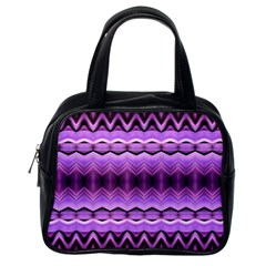 Purple Pink Zig Zag Pattern Classic Handbags (one Side) by BangZart