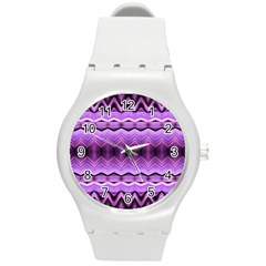 Purple Pink Zig Zag Pattern Round Plastic Sport Watch (m) by BangZart