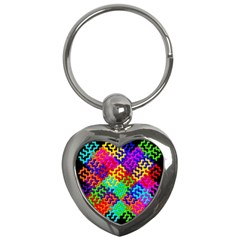 3d Fsm Tessellation Pattern Key Chains (heart)  by BangZart