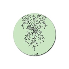 Illustration Of Butterflies And Flowers Ornament On Green Background Rubber Coaster (round)  by BangZart