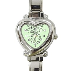 Illustration Of Butterflies And Flowers Ornament On Green Background Heart Italian Charm Watch by BangZart