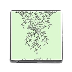 Illustration Of Butterflies And Flowers Ornament On Green Background Memory Card Reader (square) by BangZart