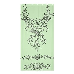 Illustration Of Butterflies And Flowers Ornament On Green Background Shower Curtain 36  X 72  (stall)  by BangZart