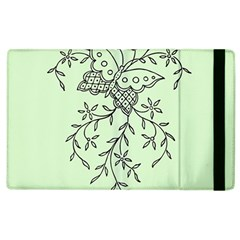 Illustration Of Butterflies And Flowers Ornament On Green Background Apple Ipad 3/4 Flip Case by BangZart