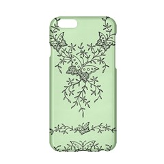 Illustration Of Butterflies And Flowers Ornament On Green Background Apple Iphone 6/6s Hardshell Case by BangZart