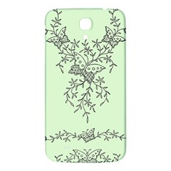 Illustration Of Butterflies And Flowers Ornament On Green Background Samsung Galaxy Mega I9200 Hardshell Back Case by BangZart