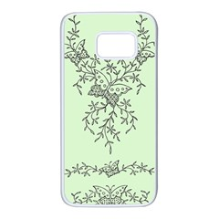 Illustration Of Butterflies And Flowers Ornament On Green Background Samsung Galaxy S7 White Seamless Case