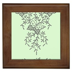 Illustration Of Butterflies And Flowers Ornament On Green Background Framed Tiles