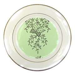 Illustration Of Butterflies And Flowers Ornament On Green Background Porcelain Plates by BangZart