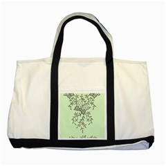 Illustration Of Butterflies And Flowers Ornament On Green Background Two Tone Tote Bag by BangZart