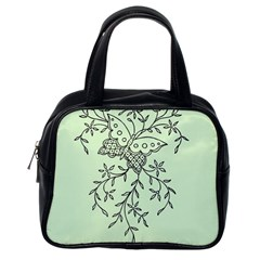 Illustration Of Butterflies And Flowers Ornament On Green Background Classic Handbags (one Side) by BangZart
