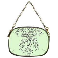 Illustration Of Butterflies And Flowers Ornament On Green Background Chain Purses (one Side)  by BangZart