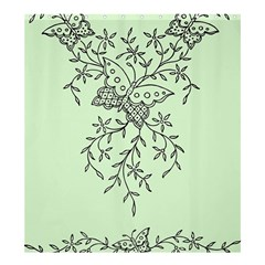 Illustration Of Butterflies And Flowers Ornament On Green Background Shower Curtain 66  X 72  (large)  by BangZart