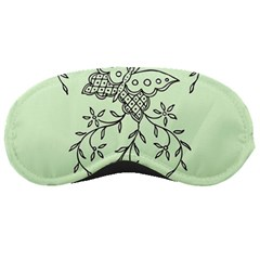 Illustration Of Butterflies And Flowers Ornament On Green Background Sleeping Masks by BangZart