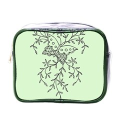 Illustration Of Butterflies And Flowers Ornament On Green Background Mini Toiletries Bags by BangZart