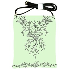 Illustration Of Butterflies And Flowers Ornament On Green Background Shoulder Sling Bags by BangZart