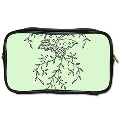 Illustration Of Butterflies And Flowers Ornament On Green Background Toiletries Bags 2 Side