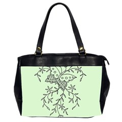 Illustration Of Butterflies And Flowers Ornament On Green Background Office Handbags (2 Sides)  by BangZart