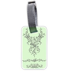 Illustration Of Butterflies And Flowers Ornament On Green Background Luggage Tags (one Side)  by BangZart
